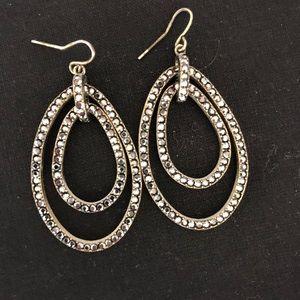 Black Pave Drop Earrings